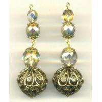 China Drops & Pendants 0439-782 1/2'' Glass/Filigree Bead Drops on sale