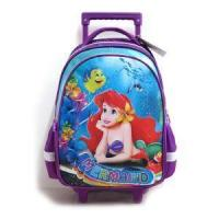 Quality Kids Disney Mermaid Book Bags For School Travel Bags On Wheels Designer Luggage Backpacks for sale