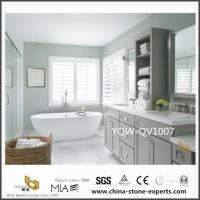 China Custom White Quartz Vanity Tops with Sink for Bathroom Design for sale