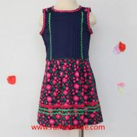 Quality Sleeveless Flower Printed Dress Cotton Fancy Dress with Ribbons for Girls for sale