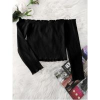 Women Knitted Ruffled Ribbed Off Shoulder Top - Black