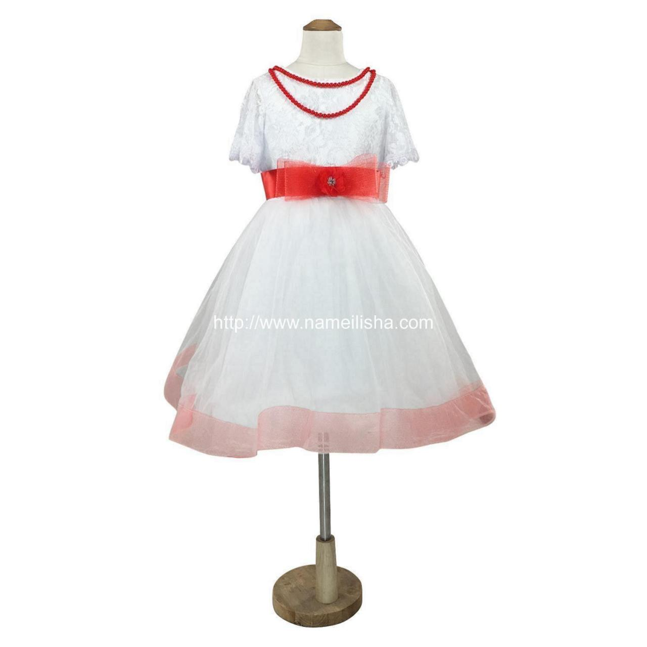 Quality White A-Line Jewel Knee Length Pearls Bownet Sash Flowers Girls Dresses 2017 TuTu Ball Gown for sale