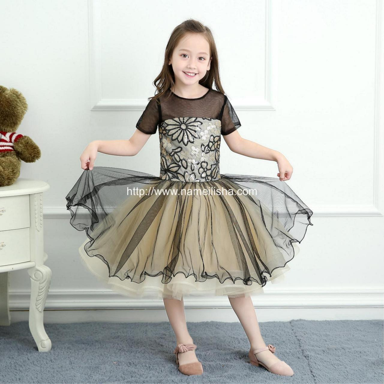 Quality 2017 A-Line Jewel Short Sleeves Knee Length Tulle Layers Flower Girls Dresses for sale