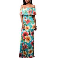 Must Have Ruffle Off the Shoulder Bohemian Dresses with Floral Print Summer 2017