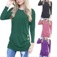 Quality Women Fall Long Sleeve Going Out T Shirts With Button for sale