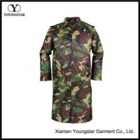 Quality PVC Waterproof Woodland Camouflage Raincoat With Button Style for sale