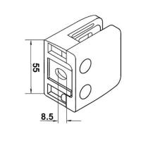 China Zamak Middle Square Glass Clamp With Baffle on sale