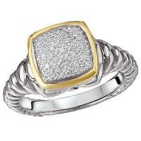 Rings 925/18KY PAVE DIA CUSH RING D.07CTW, SIZE 7, GALLERY BACK