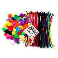 Quality Pipe Cleaners, Pompoms & Googly Eyes Large Assortment of Colors & Size for sale