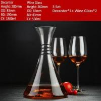 China One Crystal Glass Wine Decanter and 2 Set of Red Wine Glasses on sale