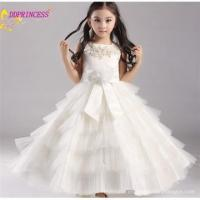 Quality beautiful wedding white party long maxi dress for girls new flower girl tulle dress with for sale