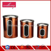 China Stainless Steel Window Canister Set with Lids for Tea Coffee Sugar Nuts Jar Storage Silver on sale