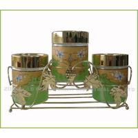 Quality Glass cruet set with iron rack for sale