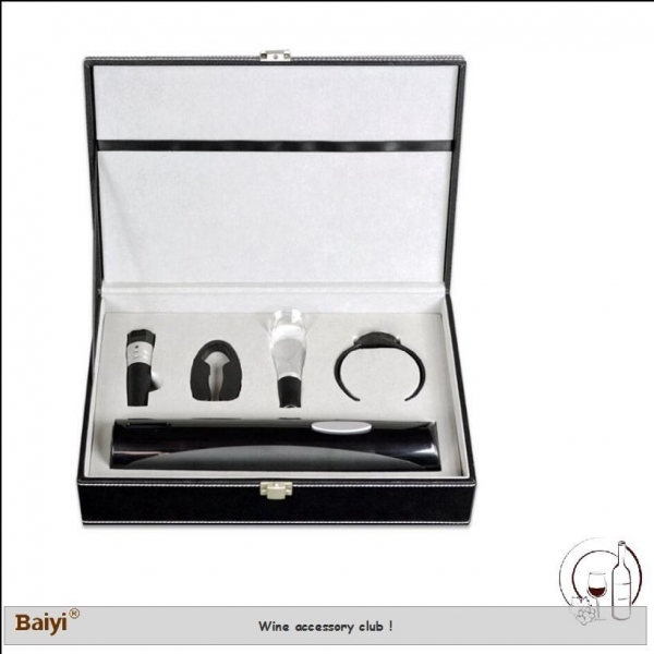 China Wholesale Wine Accessory Wine Stopper Gift Set With Leather Box