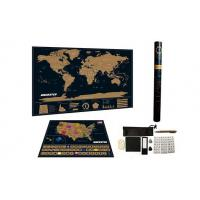 Quality Map Deluxe Black World Map With USA Map for sale