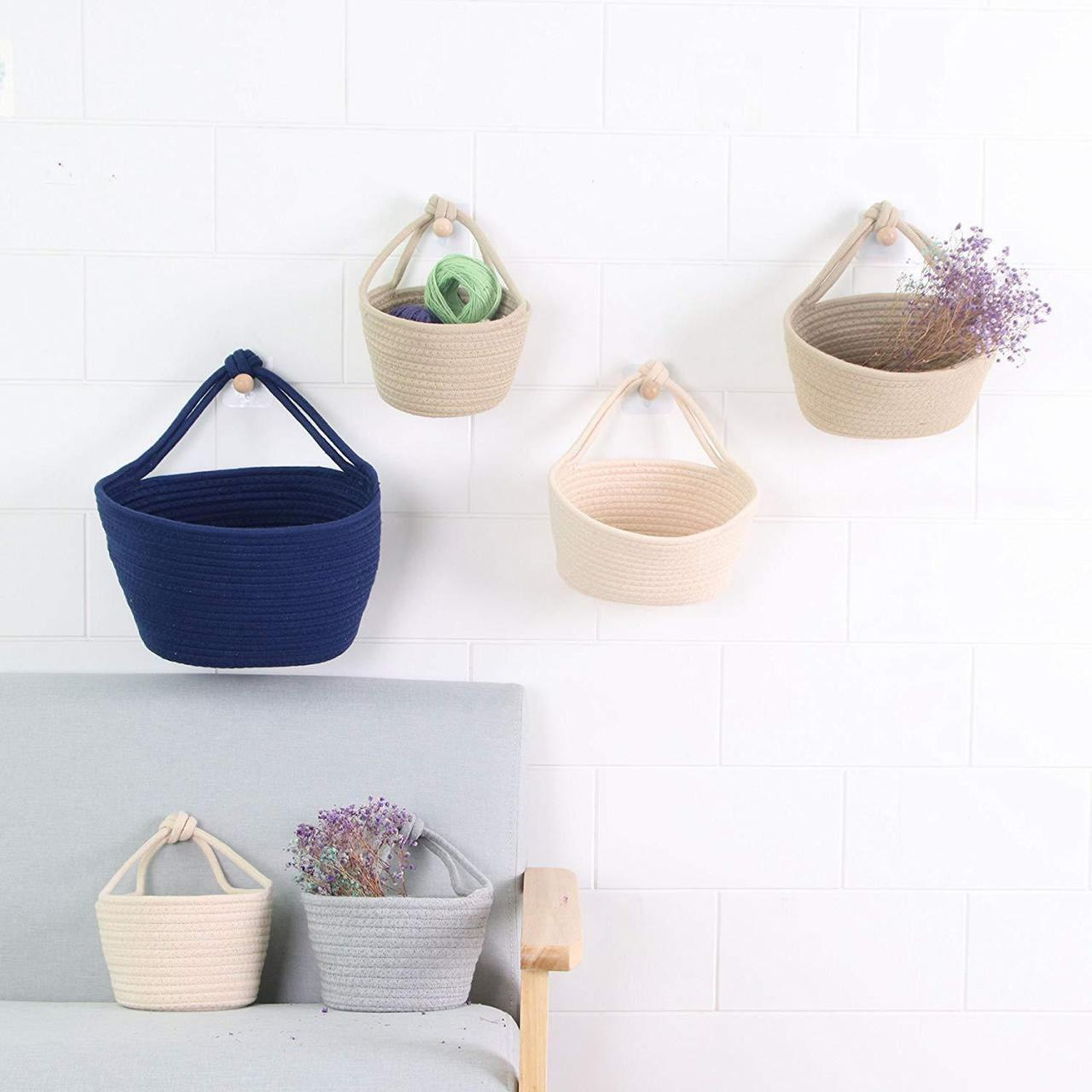 Storage Baskets Cotton Rope Over Wall Door Clo