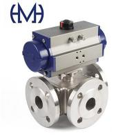Buy cheap Automated Pneumatic Stainless steel 3way Flanged Ball Valve from wholesalers