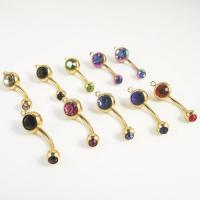 Buy cheap vertical hoop add your own charm Double Crystal CZ Belly Ring from wholesalers